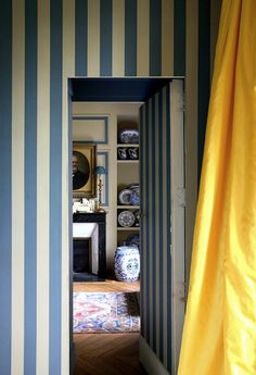 Stripes, canary yellow, blue and white - World of Interiors