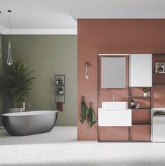 Comment utiliser le terracotta dans votre salle bains ? Hydropolis vous conseille.  Que vous choisissiez de peindre un pan de mur, d'ajouter un sol coloré ou seulement quelques carreaux de ciment, il est très facile de rénover cette pièce et de la colorer. Cette couleur chaude qui évoque la terre et le soleil apportera un vent de fraîcheur et de nouveauté à cet espace qu'on fréquente quotidiennement. #salledebains #bains #déco #terracotta #couleur #couleur2020 #salledebain #amenagement #ocre Pho Ajouter, Color Pallets, Terracotta, Beach House, Sweet Home, New Homes, Art Deco, Interior Design, Bathroom