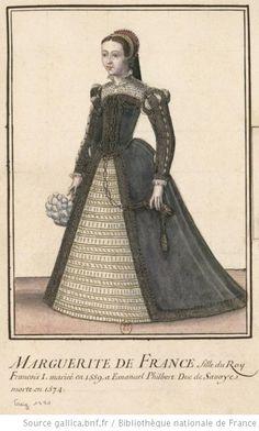 [Portrait de dame en pied de 3/4 à gauche, en grand costume] : [dessin] - Marguerite duchesse de Savoie
