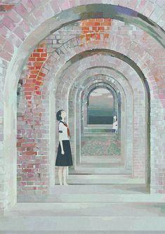 Tags: Anime, Mirror, Archway, Sailor Suit, Looking Up, Jun Ayafuya