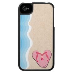 Pink Flip-Flops on the Beach iPhone 4 Speck Case by Stacey Lynn Payne