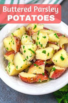 Parsley Potatoes is a simple 3 ingredient side dish that delivers on flavor! This recipe for buttered red potatoes is super easy to make and pleases the pickiest of eaters! If you are looking for an easy side dish recipe or a flavorful potato recipe, this Buttered Potatoes Recipe, Recipes With Red Potatoes, Cheesy Red Potatoes, Butter Potatoes, Potato Side Dishes, Side Dishes Easy, Side Dish Recipes, Recipes, Kitchens