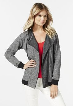 Adding sporty luxe to a casual look, this zip front hoodie is great to keep warm at night. l  JustFab