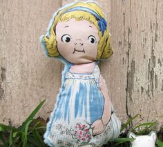 stuffed doll with blue minkee back by GotchaCoveredQuilts on Etsy, $13.00