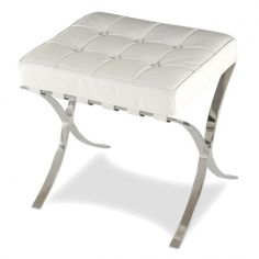 Barcelona Dressing Table Stool (White or Black) Simple Dressing Table, Dressing Table With Chair, White Dressing Tables, Dressing Table With Stool, Bamboo Dining Chairs, Retro Dining Chairs, Leather Dining Room Chairs, Leather Chairs, Dining Table