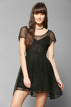 Bohemian Bones Chiffon Babydoll Dress #urbanoutfitters
