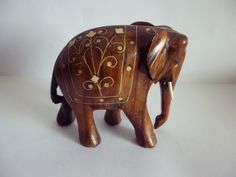 VINTAGE HAND CARVED WOOD ELEPHANT SCULPTURE WITH  INLAY FLORAL DECOR