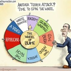 Wheel of Misfortune - Let's see who to blame it on this time, since Obama can't accept responsibility for anything.