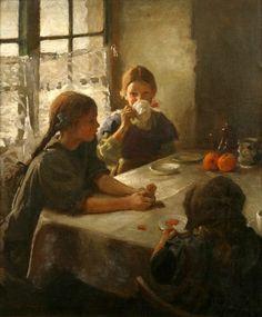Tea Party, 1912, by Harold Harvey (1874 - 1941) , not  by Mary Cassatt, a painting Cassatt's Sisters.