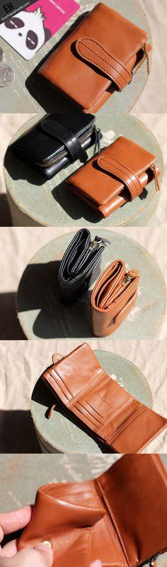 Handmade Genuine leather trifold short purse wallet purse coin women