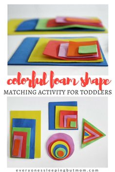 colorful foam shape matching activity for toddlers - everyone's sleeping but mom