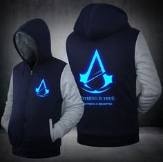Hot New Assassin's Creed Brotherhood Noctilucent Hoodie Logo Winter JiaRong Fleece Mens Sweatshirts Free Shipping