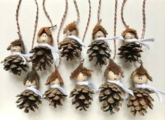 """Christmas Decorations – """"Waldwichtel"""" Tree Decorations Set of 10 – a unique product by Emb … - Christmas Crafts Diy Handmade Christmas Decorations, Christmas Crafts For Kids, Tree Decorations, Christmas Fun, Holiday Crafts, Christmas Ornaments, Autumn Crafts, Nature Crafts, Pine Cone Crafts"""