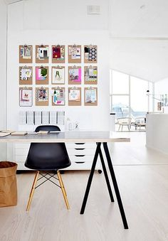 I really like this idea for creative office organization. Put up lots of clip boards in a  gallery style, and clip up whatever needs your attention, what inspires you, etc. So cool!