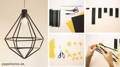 Geometric lamp with straws (straws) step by step - Papelisimo Deco Luminaire, Luminaire Design, Origami Patterns, Butterfly Kids, Christmas Origami, Ideias Diy, Useful Origami, Craft Tutorials, Diy Home Decor