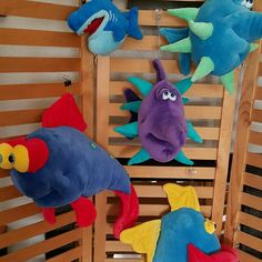 """NWOT_Plush Fish (hang from ceiling) Bundle of """"Funny Friends"""" Plush Fish perfect for child's room! These cuties hang from the ceiling.  They are in perfect condition; never been played with. Just found online ranging from $15 to $30 plus for just one.  Still have the fishing line/string to hang. Funny Friends Other"""
