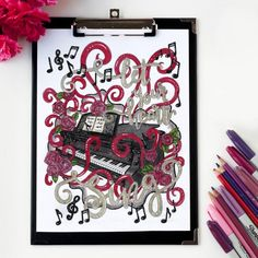 What a beautiful coloring page to capture the creativity of music! Colored by Linda Franklin. Get it at sarahrenaeclark.com #coloringpage #music #piano #printable
