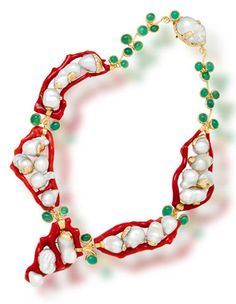 A coral, emerald and South Sea cultured pearl necklace, Tony Duquette of intricate design, comprising twenty-one baroque cultured pearls, measuring approximately 32.0 x 20.0mm. to 15.5 x 12.5mm., further accentuated by polished coral branches and bezel-set oval cabochon emeralds; signed Tony Duquette