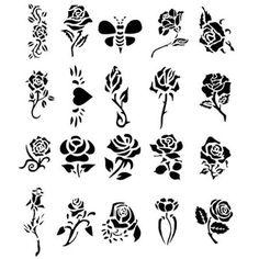 Maybe cake stencils stencil art, rose tattoo stencil, rose stencil, glitter Tattoo Stencil Designs, Rose Tattoo Stencil, Rose Stencil, Simple Tattoo Designs, Stencil Art, Butterfly Stencil, Flower Stencils, Tattoo Patterns, Sun Tattoo Tribal