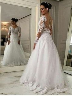 V Neck Long Sleeves Tulle Appliques A Line Wedding Dress