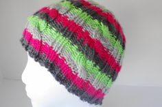 Cable knit beanie, neon pink hat, cable tobaggan