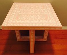 A DIY stenciled table in pink and white using the Indian Inlay Stencil Kit from Cutting Edge Stencils.   http://www.cuttingedgestencils.com/indian-inlay-stencil-furniture.html?utm_source=JCG&utm_medium=Pinterest%20Comment&utm_campaign=Indian%20Inlay%20Furniture%20Stencil%20Kit%20