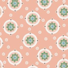 Roundabout (Peach) - Geometric Floral Fabric - The Textile District design to custom print for home decor, upholstery, and apparel. Pick the ground fabric you need and custom print the designs you want to create the perfect fabric for your next project. https://thetextiledistrict.com #designwithcolor #fabrics #interiordesign #sewing