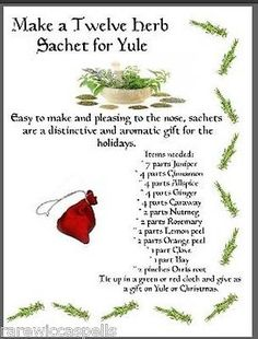 Make 12 Herb Sachet Yule Gift Item Wicca Book of Shadows Pagan Occult Ritual