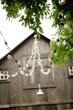 Lights strung on an Indiana Wedding Barn.