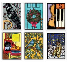 New 2017 Blank Greeting Cards - Raven, Wreath, Violin & Piano, Books, Bluebirds, and Bobcat - ask us about selling our line wholesale as well! Bookstores, Gift Stores, Museum Stores, Botanical Gardens, Coops - Sarah Angst Cards #sarahangstart www.sarahangst.com/wholesale