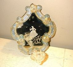 Antique Blue & Gold Venetian Glass Wall Mirror with Sconce Lady Etching
