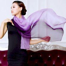 2016 Frühjahr neue 100% Maulbeereseide Echt Seidenschal Frauen Farbverlauf Mode heißer Verkauf lange Schals Schal Wrap weiblichen 180x70 cm