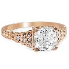 Custom Ring, Hand Engraved Rose Gold Step Ring
