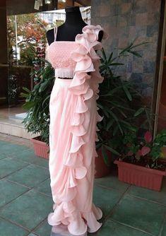 Light Pink Crepe Designer One Color Soft Ruffle Saree Light Pink One Color Soft Ruffle Saree for Birthday Party Saree Gown, Sari Dress, The Dress, Lehenga Saree, Dhoti Saree, Indian Wedding Gowns, Indian Gowns Dresses, Saree Blouse Patterns, Saree Blouse Designs