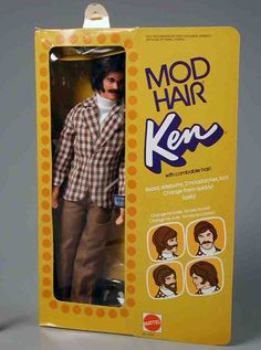 1972 Mod Hair Ken with Combable Hair, Beard, Sideburns & 2 Moustaches!