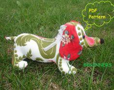 Dachshund Stuffed Animal Sewing Pattern PDF Instant by retromama