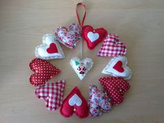Handmade fabric heart Christmas