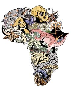 I thought this design created by my twin sister @GinaViglietti back in 2014 for one of our PSSA conferences would be appropriate to share on #FossilFriday and #AfricaDay