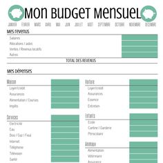Budget Personnel, Mon Budget, Adobe Reader, Free Printables, Management, Bullet Journal, Organization, How To Plan, Bujo
