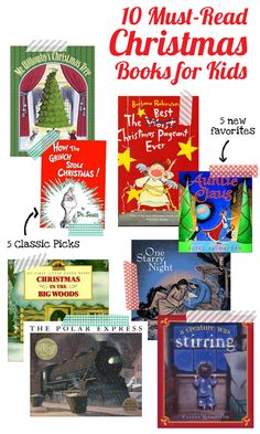 An excellent list of 10 must-read Christmas books for the kids, 5 classics and 5 new favorites, put together by a elementary school librarian. Christmas presents! Christmas Books For Kids, Christmas Activities, Little Christmas, Christmas And New Year, Winter Christmas, Winter Holidays, All Things Christmas, Christmas Crafts, Christmas Classics