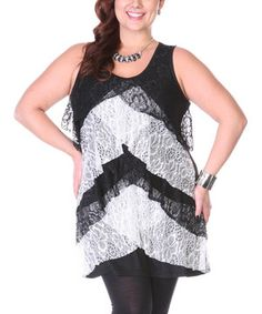 This Lily Black & White Lace Tunic - Plus by Lily is perfect! #zulilyfinds