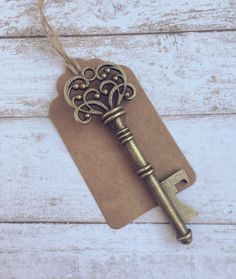 25 Key Bottle Openers with Tags & Twine - Wedding Favors and Party Decorations - Antique Gold Vintage Steampunk - Vintage…