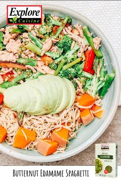Gluten-free butternut squash and edamame spaghetti bowl. Switch up your traditional pasta bowl with Explore Cuisine's delicious Edamame Spaghetti that is packed with plant-based protein and nutrients. Edamame Spaghetti, Quick Lunch Recipes, Plant Based Protein, Plant Based Recipes, Butternut Squash, Cobb Salad, Pasta, Meals, Healthy