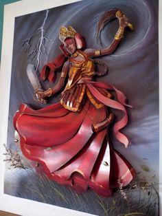 Quadro em MDF com figura do Orixa Iansa,com iluminacao,flores,metal e vidro para protecao.