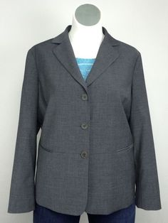 NWT $224 Talbot's 16W Grace Fit Gray Lined 3 Button Blazer Jacket NEW #TalbotsTheGraceFit #JacketBlazer