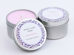 100% Soy Wax Travel Candles, Tin candle,  2-Pack, 6oz Tin Candles, Romance by AndoverCandle for $12.50