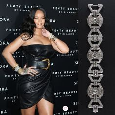 Rihanna wearing an Art Deco diamond bracelet by Pennisi at the Milan launch of Fenty Beauty