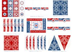 Free Bandana Printables ~ (Although this was designed for of July, much of it could be used for a Cowboy/Western Theme.) by demay Cowboy Theme, Western Theme, Western Cowboy, Cowboy Birthday Party, Cowgirl Party, Birthday Ideas, 4th Of July Party, Fourth Of July, Wild West Party