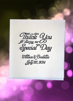 Your Special Day should be commemorated in a Special Way. These elegant cocktail napkins will dress up your table decor & make a gracious statement. Don't be surprised if you see guests stuff these in their pockets. The heavy linen-look napkin has no border giving us more printable space.For $39.95 per 100 printed, add color, style & function to your event. Over 30 ink colors to choose from. See more at http://www.favorsyoukeep.com/products/wedding-napkins-wordplay/ or call 512.323.0600.