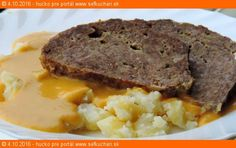 Fašírka s brutálnou omáčkou z hokaido tekvice Meatloaf, Mashed Potatoes, Menu, Lidl, Ethnic Recipes, Ale, Food, Ground Beef Recipes, Whipped Potatoes